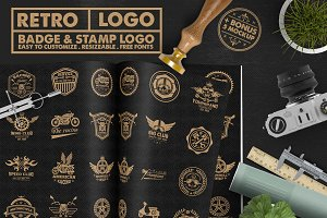 Race Badge & Stamp Logo & 5 Mockup