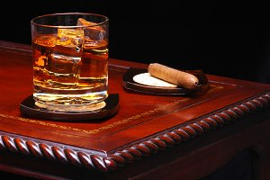 Drink on Table with Cigar
