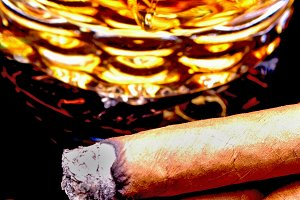 Cigars and Whiskey Closeup