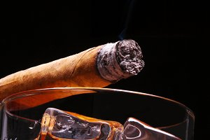 Cigar on Whiskey Low Angle