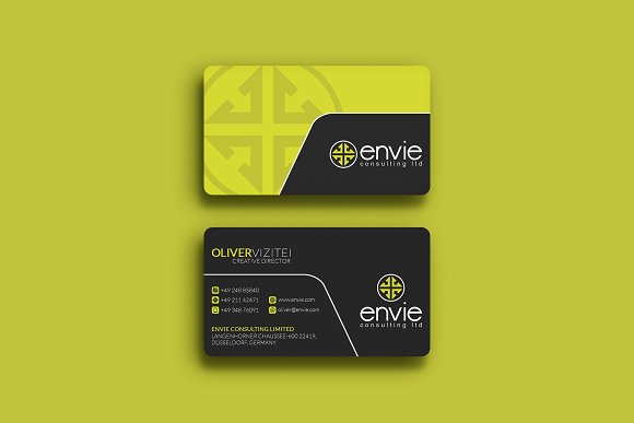 Green creative business card business card templates creative market reheart