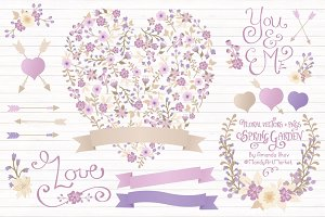 Lavender Floral Heart & Banner