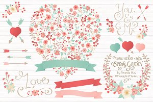 Mint & Coral Floral Heart & Banners