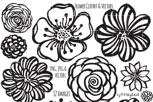 Flower Clipart Hand Painted Brush
