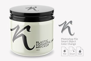 Plastic Cosmetic Gloss Jar Mockup 2