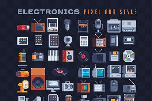 Electronics pixel art icons set.