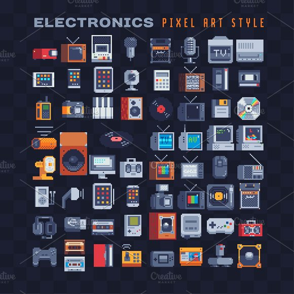 Electronics Pixel Art Icons Set