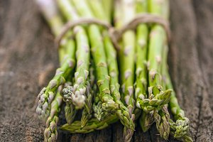 Fresh asparagus bunches