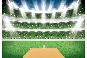 Cricket Stadium with Spotlights.