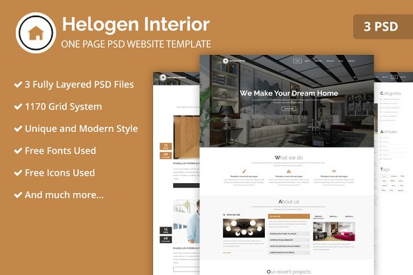 One Page Interior PSD Web Template