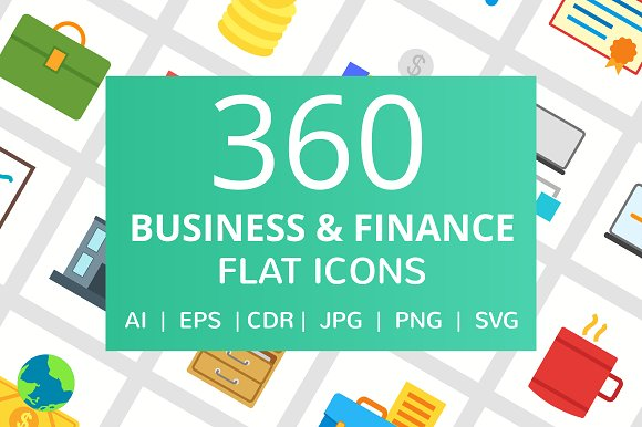 360 Business Finance Flat Icons