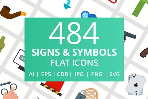 484 Sign & Symbols Flat Icons