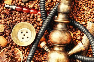 Asian tobacco hookah with coffee aro