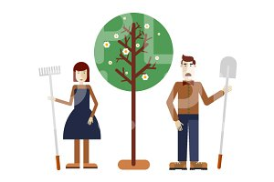 Man and woman gardeners.