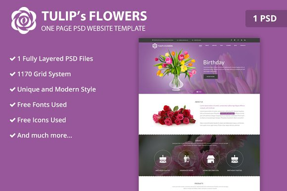 One Page Flower PSD Website Template