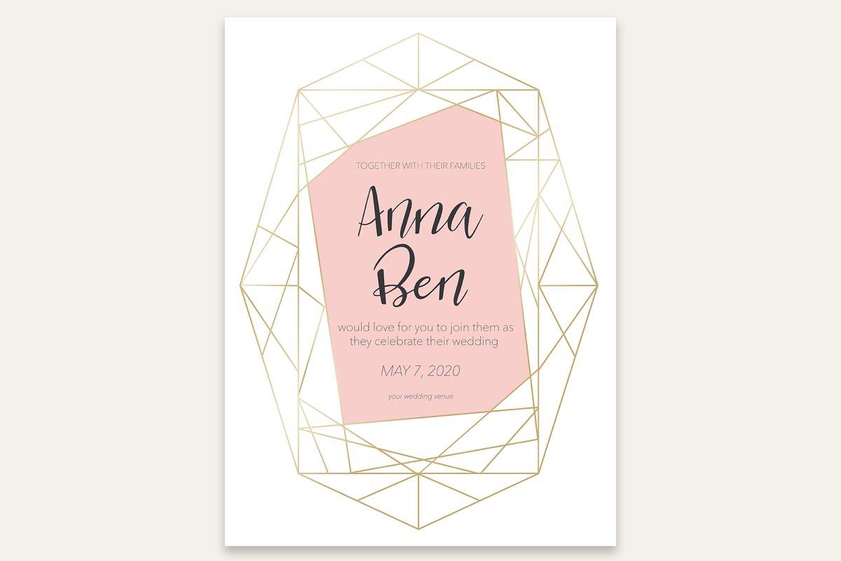 Geometric Card Wedding Invitation