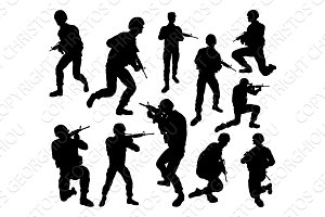 Soldier Military Silhouettes