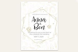 Wedding invitation with small plants