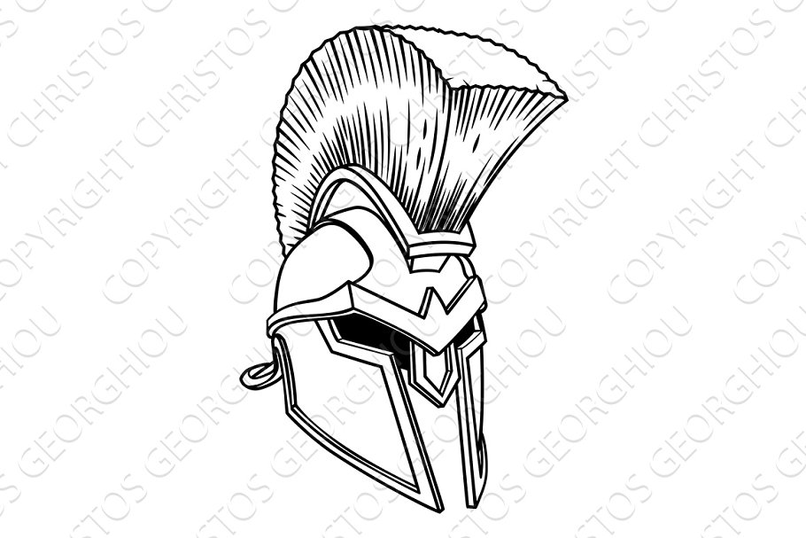 5cf30d2dd Spartan Ancient Greek Helmet ~ Illustrations ~ Creative Market