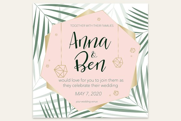 Wedding Invitation With Palm Leaves