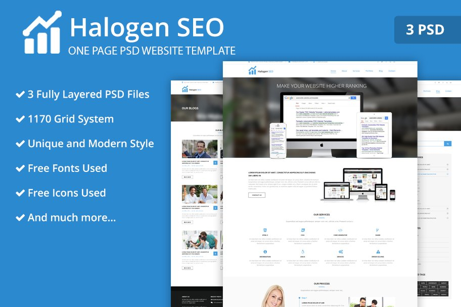 One Page SEO PSD Website Template ~ Website Templates ~ Creative Market