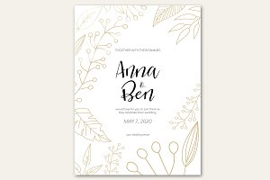 Wedding invitation golden flowers