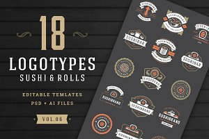 18 Sushi Bar Logos and Badges