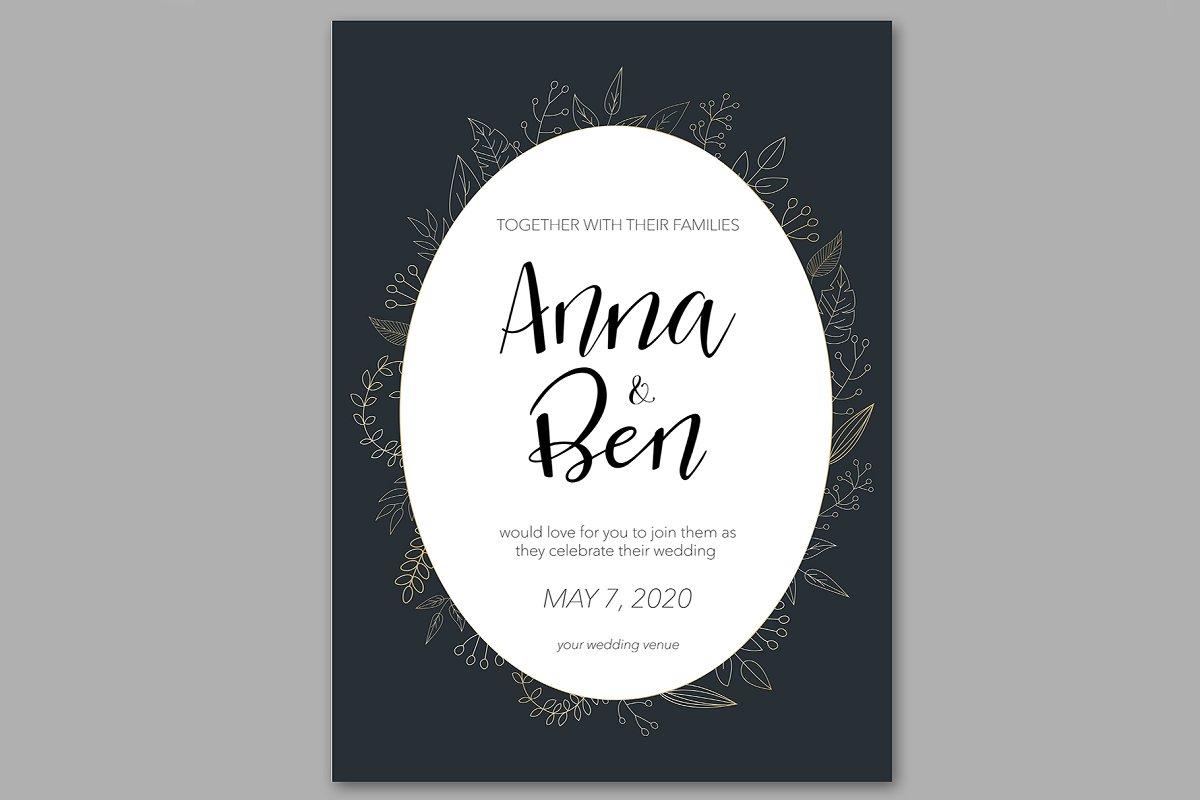 Dark wedding invitation with gold
