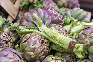 Group of artichokes in a market