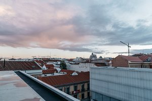 Skyline of Madrid at sunset