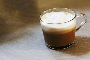 cappuccino in a transparent mug