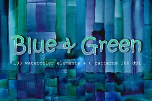 Blue & Green watercolor