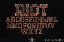 Riot 3D font
