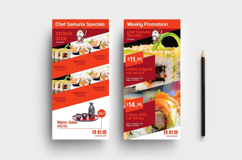 dl sushi restaurant template card templates creative. Black Bedroom Furniture Sets. Home Design Ideas