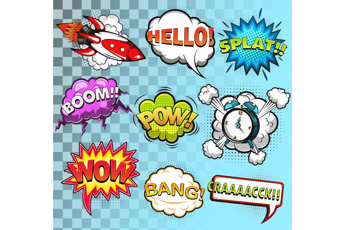 Comic speech bubbles. Rocket