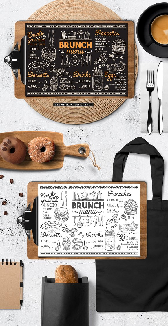 brunch food menu brochure templates creative market