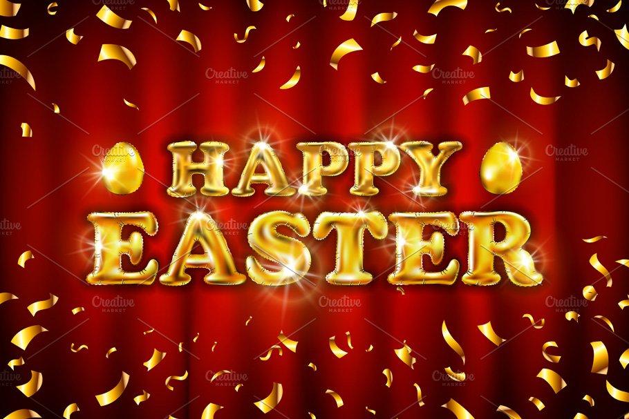 vector Happy Easter gold confetti