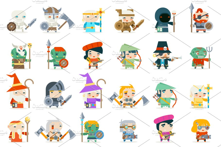Set fantasy rpg game heroes