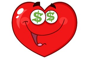 Red Heart With Dollar Sign Eyes