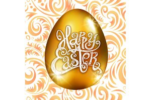Golden egg happy Easter vector