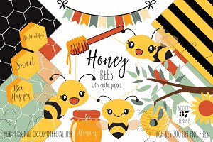 Cute Bumble Bee Honey Graphic Bundle