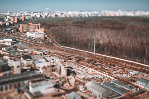 Tilt-shift view of railway track