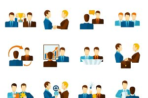 Business partnership flat icons set