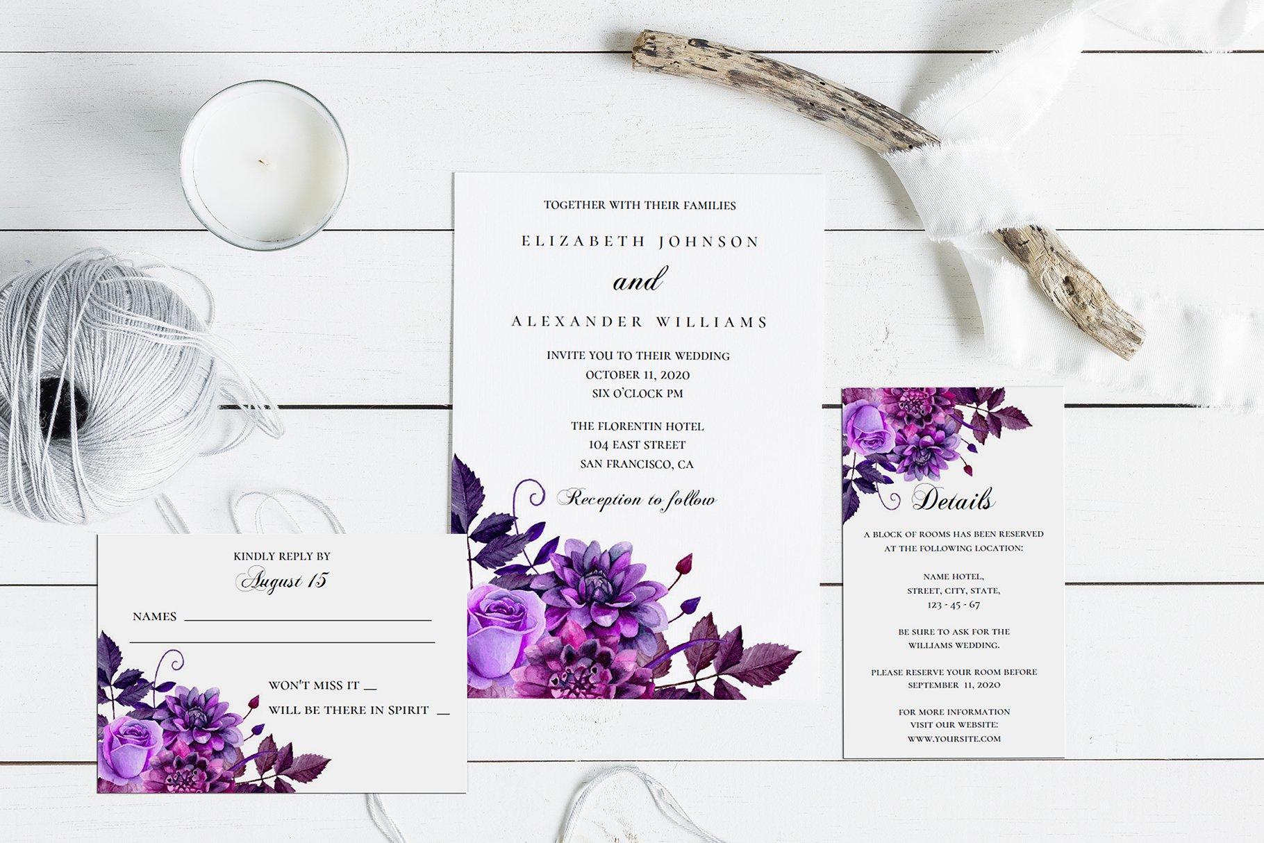 Purple Wedding Invitation Template from images.creativemarket.com