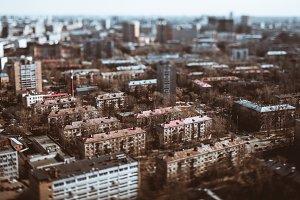 Tilt-shift view: residential houses
