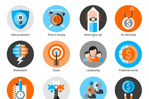 Business concept icons set
