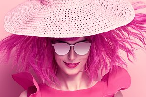 Glamour Beautiful Lady. Pink Fashion