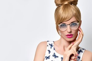 Fashion Blond Girl, Stylish glasses.