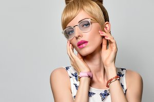Fashion Portrait Young Blond Woman