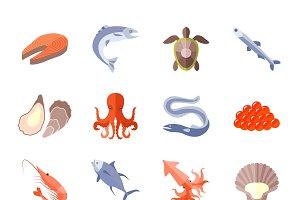 Sea food icon flat set